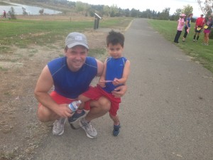 Matching running outfits for father and son