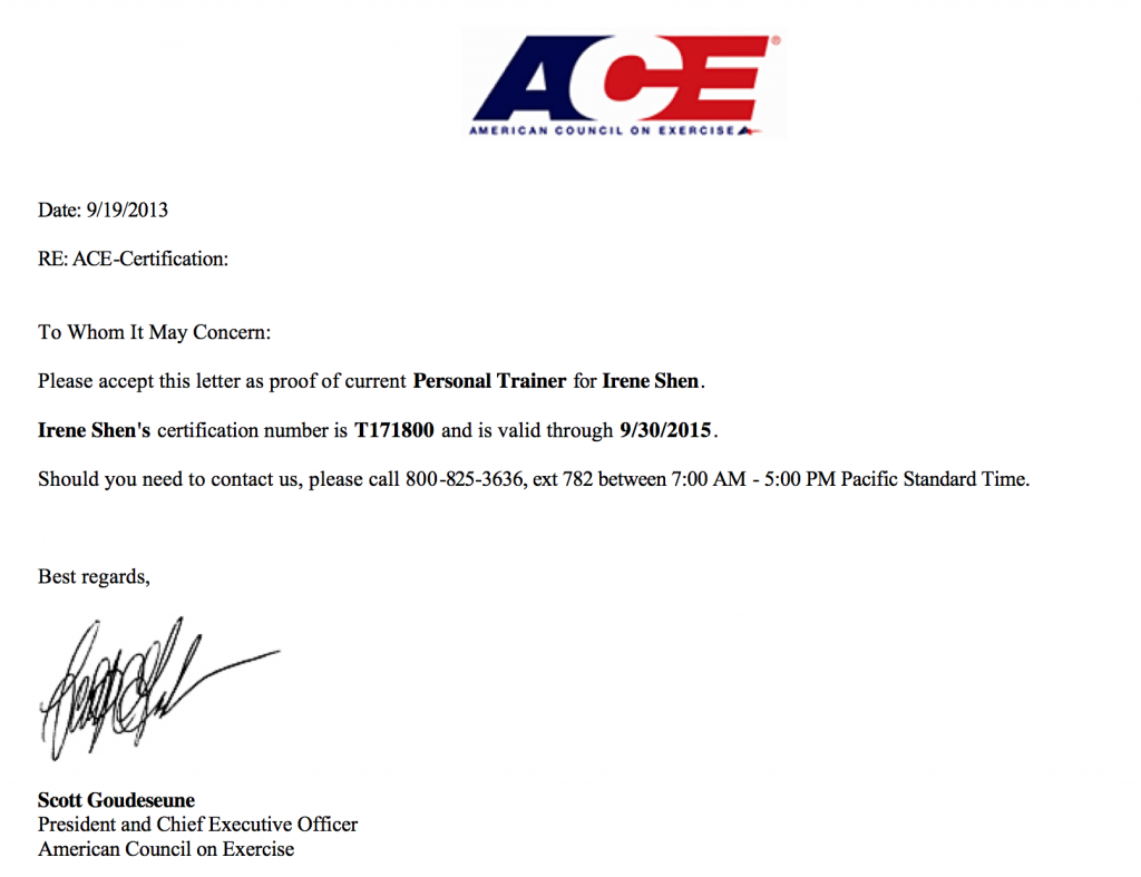 I passed the ACE CPT exam and got this letter as proof
