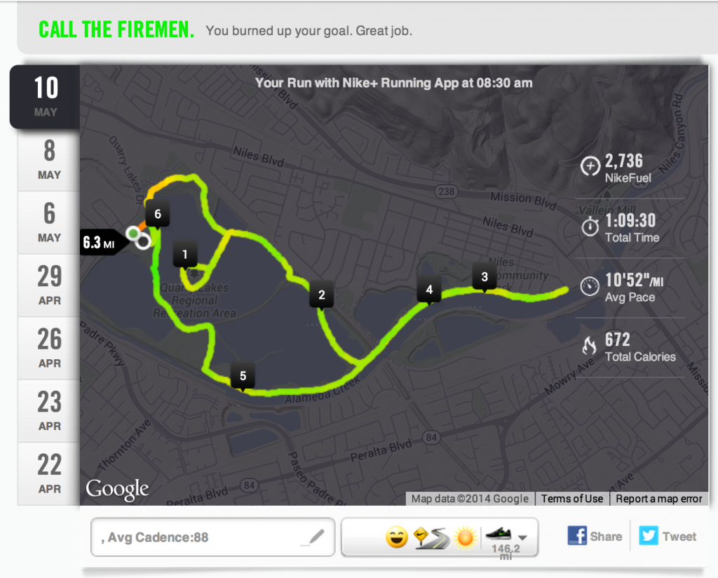 The 10K course I ran as mapped out on Nike+